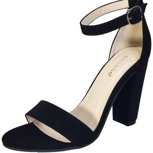 Bamboo black velvet strappy heels
